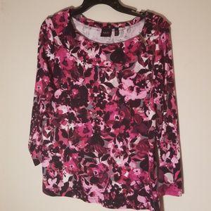 Rafaella Studio Pink & Blk print Cotton top S XL